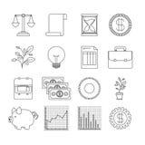 Il fondo bianco con gli elementi stabiliti della siluetta aumenta l'economia Fotografie Stock Libere da Diritti