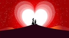 Il fondo, il biglietto di S. Valentino di amore ed il cuore astratti di nozze Moon royalty illustrazione gratis