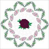 Il fondo con rosa e le foglie verdi immaginano, postc Fotografia Stock Libera da Diritti