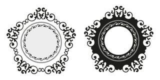 Il fondo decorativo di calligrafia d'annata, vector il retro insieme barrocco reale in bianco antico della struttura del confine Immagini Stock