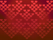Il fondo dei cuori del biglietto di S. Valentino rosso dei reticoli Fotografia Stock Libera da Diritti
