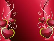 Il fondo dei cuori mostra l'attrazione e la passione di affetto Immagini Stock