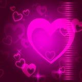 Il fondo dei cuori significa la passione ed il romanticismo di amore Immagini Stock Libere da Diritti