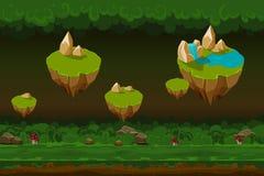 Il fondo del gioco della foresta di notte, fumetto senza cuciture abbellisce con le isole della roccia Immagine Stock