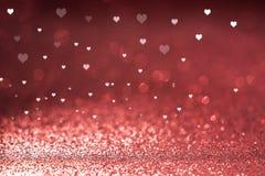 Il fondo del giorno del ` s del biglietto di S. Valentino ha brillato cuori Immagini Stock