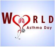 Il fondo del giorno di asma del mondo con i polmoni ed il testo alla moda su fondo blu vector l'ENV 10 Fotografia Stock