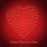 Il fondo del giorno del ` s del biglietto di S. Valentino con i cuori decorativi dell'oro progetta Fotografia Stock Libera da Diritti