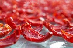 Il fondo del primo piano dei pomodori rossi affetta l'essiccazione all'aperto su una luce solare Fotografia Stock