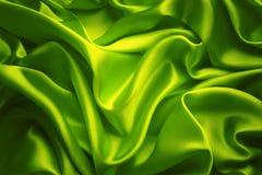 Il fondo del tessuto di seta, panno verde ondeggia la struttura Fotografia Stock