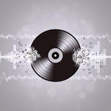 Fondo in bianco e nero di musica del vinile Immagine Stock