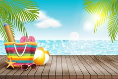 Il fondo dell'estate con la tavola di legno e la spiaggia insaccano Illustrazione di vettore illustrazione vettoriale