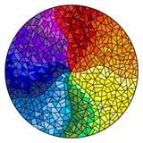 Il fondo dell'illustrazione del vetro macchiato, gli elementi colorati ha sistemato nello spettro dell'arcobaleno, immagine roton Immagine Stock