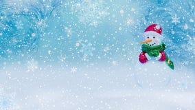 Il fondo dell'inverno con un pupazzo di neve, la neve ed i fiocchi di neve 3d rendono fotografia stock