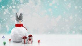 Il fondo dell'inverno con un pupazzo di neve, la neve ed i fiocchi di neve 3d rendono illustrazione di stock