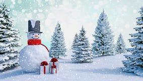 Il fondo dell'inverno con un pupazzo di neve, la neve ed i fiocchi di neve 3d rendono immagine stock