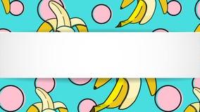 Il fondo della banana con Pop art punteggia in 80s, lo stile 90s Estate TR Immagini Stock Libere da Diritti