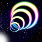 Il fondo della bobina dell'arcobaleno significa gli anelli variopinti ed il cielo stellato Fotografie Stock
