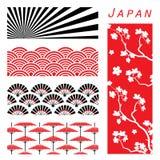 Il fondo della carta da parati del Giappone decora il vettore del fumetto di progettazione Immagini Stock