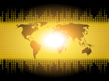 Il fondo della mappa di mondo mostra la comunicazione internazionale o globale Immagine Stock