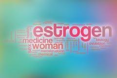 Il fondo della nuvola di parola di concetto dell'estrogeno sul blu ha offuscato il backgroun Fotografia Stock Libera da Diritti