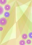 Il fondo della primavera con i fiori porpora svegli, sottrae il fiore stilizzato su area astratta verde Immagine Stock
