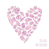 Il fondo di amore e vi carda è il mio tesoro con cuore fatto dei cristalli rosa Illustrazione di Stock