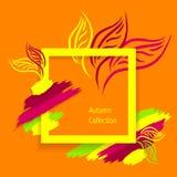 Il fondo di Autumn Abstract di tendenza fatto a mano estrae le foglie delle spazzole sull'arancia Immagine Stock Libera da Diritti