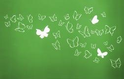 Il fondo di bianco profila la volata delle farfalle Fotografie Stock