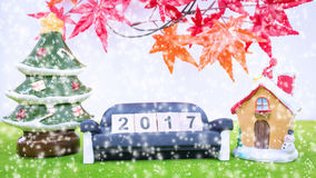 Il fondo di Buon Natale e numera 2017 t Immagini Stock