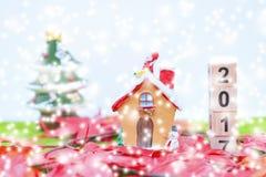Il fondo di Buon Natale e numera 2017 t Fotografie Stock