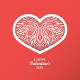 Il fondo di concetto del giorno del ` s del biglietto di S. Valentino con il cuore di origami ha modellato il fra Fotografia Stock