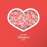 Il fondo di concetto del giorno del ` s del biglietto di S. Valentino con il cuore di origami ha modellato il fra Immagine Stock Libera da Diritti