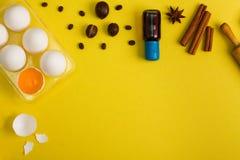 Il fondo di cottura eggs gli strumenti della cucina delle spezie Fotografie Stock Libere da Diritti