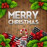 Il fondo di legno di Natale con i contenitori di regalo e la bacca dell'agrifoglio va royalty illustrazione gratis