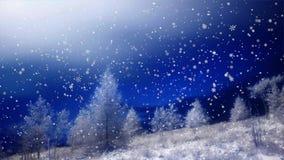 Il fondo di Natale, fiocchi di neve di caduta, ha offuscato il Natale il fondo, buon anno archivi video