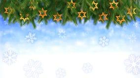 Il fondo di Natale - ramoscelli e stelle con i fiocchi di neve di caduta - 3D rende Ciclo senza cuciture stock footage