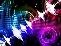 Il fondo di onda sonora significa l'amplificatore audio o il miscelatore di musica Fotografia Stock