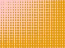 Il fondo di Pop art, il colore arancio si trasforma nel rosa Cerchi, palle delle forme differenti Vettore Fotografie Stock