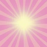 Il fondo di Pop art, i raggi del sole di colore giallo si trasforma nel rosa o il cremisi Cerchi, palle delle forme differenti Immagini Stock