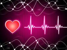 Il fondo di Purple Heart significa il cuore Rate Fitness And Double Heli Immagini Stock Libere da Diritti