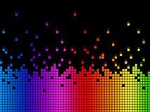 Il fondo di Soundwaves dell'arcobaleno significa il gioco di musical o il DJ Immagini Stock