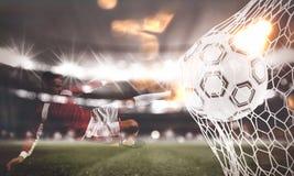 Il fondo di un pallone da calcio segna uno scopo sulla rete rappresentazione 3d Immagini Stock Libere da Diritti