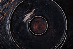 Il fondo di vecchia padella del metallo Immagini Stock