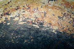 Il fondo di vecchia padella del metallo modificato Fotografie Stock
