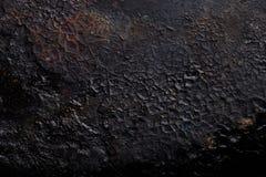 Il fondo di vecchia padella della ghisa Fotografia Stock
