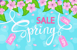 Il fondo di vendita della primavera con con i fiori di ciliegia fiorisce, foglie verdi fresche Fotografie Stock Libere da Diritti