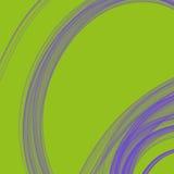 Il fondo di verde di calce con il lilla ha fumato la spirale del cerchio del ricciolo Immagini Stock