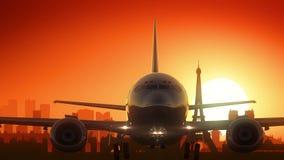 Il fondo di viaggio della Francia dell'aeroplano di Parigi Eiffel decolla Immagini Stock