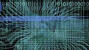Il fondo e l'animazione di codice binario con l'onda obiettano nel moto fatto con trapcode royalty illustrazione gratis
