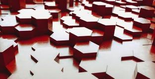 Il fondo futuristico di esagoni del metallo rosso, 3d rende l'illustrazione fotografie stock